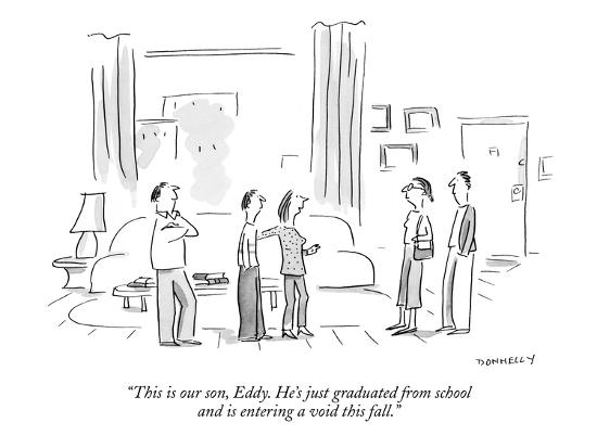 """""""This is our son, Eddy. He's just graduated from school and is entering a ?"""" - New Yorker Cartoon-Liza Donnelly-Premium Giclee Print"""