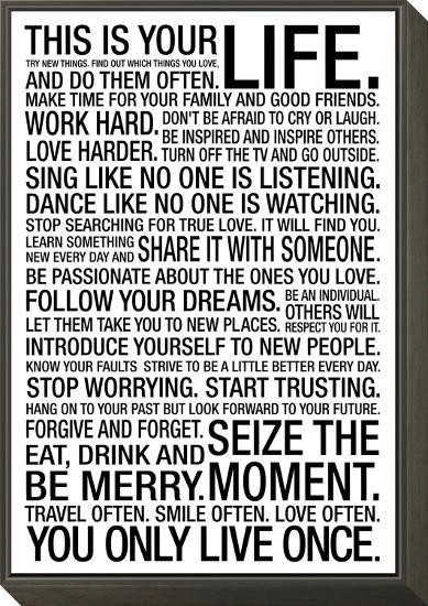 This Is Your Life Motivational Poster--Framed Print Mount