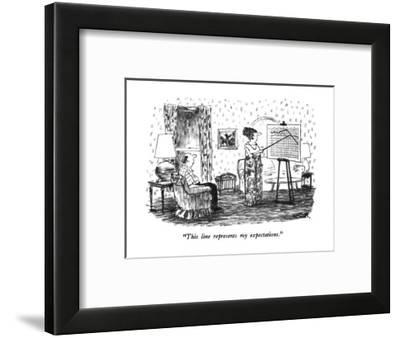 """This line represents my expectations."" - New Yorker Cartoon-Robert Weber-Framed Premium Giclee Print"