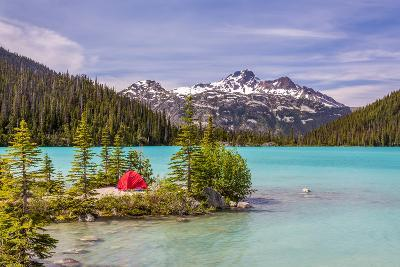 This Red Tent is a Nice Contrast with the Turquoise Water of Upper Joffre Lake in British Columbia,-Pierre Leclerc-Photographic Print
