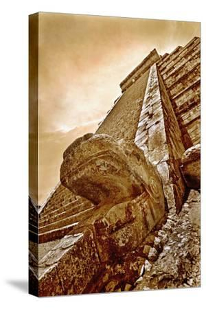 Serpent Head and Long Stairway on Pyramid of Kukulcan
