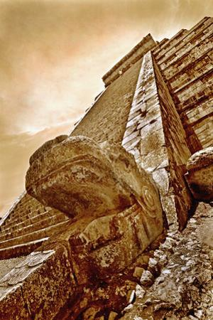 Serpent Head and Long Stairway on Pyramid of Kukulcan by Thom Lang