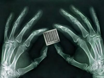 Skeletal Hands Holding Barcode by Thom Lang