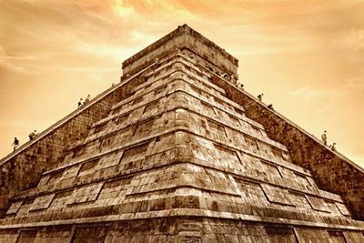 Tourists Climb the Pyramid of Kukulcan