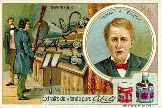 Thomas a Edison, Inventor - Recording a Phonograph--Giclee Print