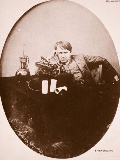 Thomas A. Edison Sitting by His Improved Machine, 1889--Photographic Print