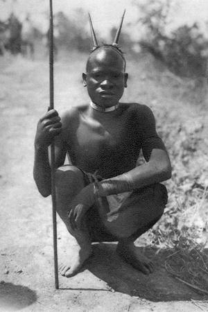 A Boy with 'Horns, Abercorn to Tukuyu, Tanganyika, 1925