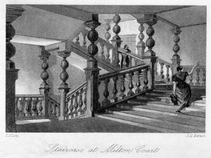 Staitcase at Milton Court, Near Dorking, Surrey, 19th Century by Thomas Allom