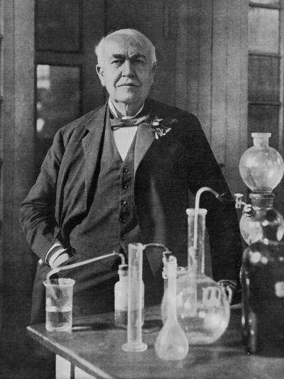 Thomas Alva Edison American Inventor on His 77th Birthday in His West Orange Laboratory--Photographic Print