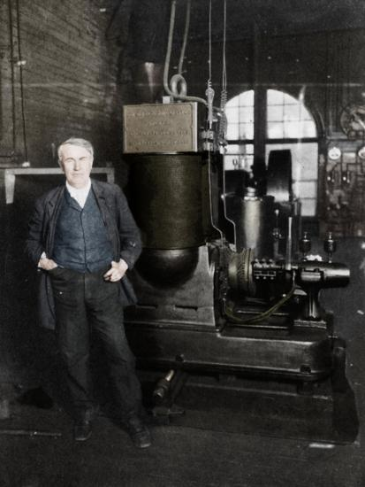 Thomas Alva Edison, American inventor, with his first dynamo for producing electric light, 1880s-Unknown-Giclee Print
