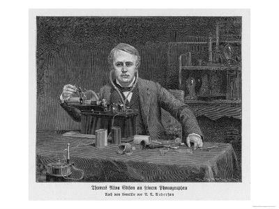 Thomas Alva Edison American Inventor with His Phonograph--Giclee Print