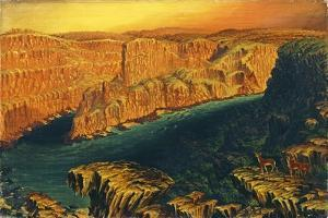 Gorge Below Victoria Falls in the Lower Zambezi with Antelope, 1862 by Thomas Baines