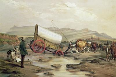 T662 Klaass Smit's River, with a Broken Down Wagon, Crossing the Drift, South Africa, 1852