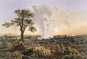 The Falls by Sunrise with the Spray Cloud Rising 1,200 Feet, 1865 (Colour Print) by Thomas Baines