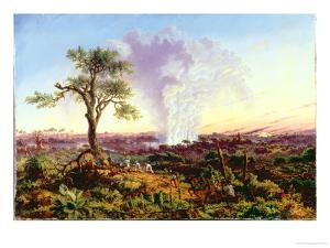 Victoria Falls at Sunrise, with The Smoke, c.1863 by Thomas Baines