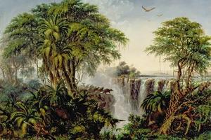 Victoria Falls with Stampeding Buffalo by Thomas Baines