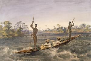 Zanjueelah, the Boatman of the Rapids, from 'The Victoria Falls, Zambesi River', Pub. 1865 by Thomas Baines