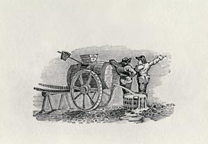 Two Men with a Barrel Cart (Wood Engraving) by Thomas Bewick