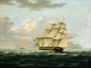 A British Frigate in Pursuit of a French Frigate by Thomas Buttersworth