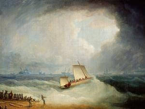 A Deal Lugger Going Off to a Storm-Bound Ship in the Downs, South Foreland by Thomas Buttersworth