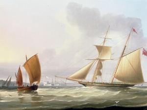 A Schooner and Other Shipping by Thomas Buttersworth