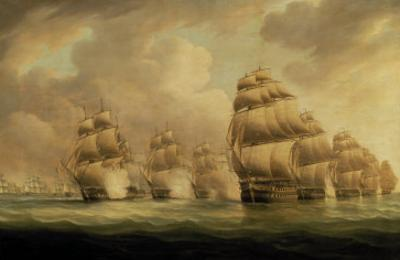 Action of Commodore Dance and the Comte de Linois off the Straits of Malacca, 15th February 1804 by Thomas Buttersworth