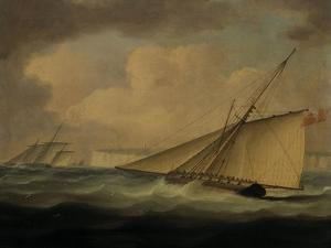 An Armed Cutter off the Coast by Thomas Buttersworth