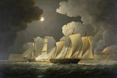 British Brig Attacking a French Lugger Ca. 1795-1825 by Thomas Buttersworth