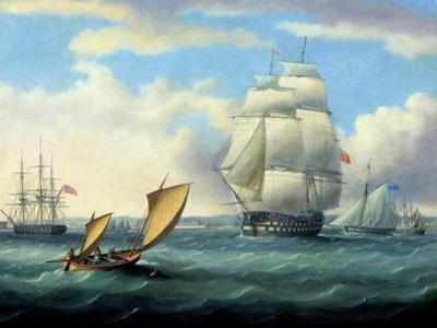 Euryalus (Capt. Blackwood), Thunderer and Ajax Leaving Plymouth to the Battle of Trafalgar (1805) by Thomas Buttersworth