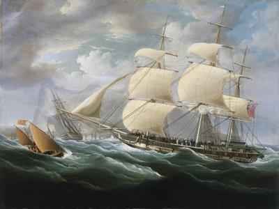Frigate Entering Gibraltar Harbor