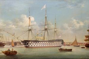 H.M.S. Britannia Lying Off Plymouth by Thomas Buttersworth