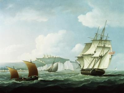 Shipping off Dover Castle, England
