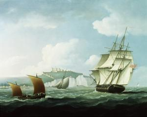 Shipping off Dover Castle, England by Thomas Buttersworth