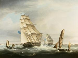 Squadron of the Blue off Portsmouth by Thomas Buttersworth
