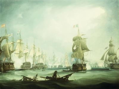 SAILING SHIP POSTER Battle of Trafalgar T Buttersworth