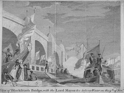 Lord Mayor's Procession Passing under Blackfriars Bridge, London, 1770