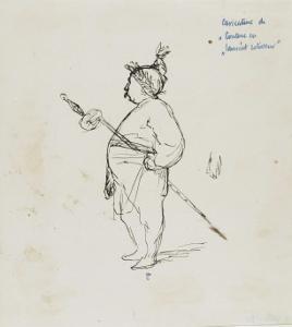 Caricature de Thomas Couture par lui-même au cours d'un repas en compagnie de M.Dugleré by Thomas Couture