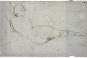 Recumbent Female Nude and Partial Study of a Second Female Figure, C. 1855-1860 by Thomas Couture