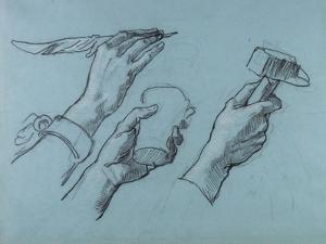 Trois Etudes De Mains (Three Studies of Hands), C. 1876 by Thomas Couture