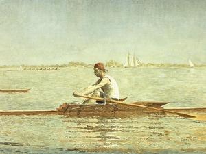 John Biglin in a Single Scull, 1873 by Thomas Cowperthwait Eakins
