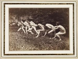 Male Nudes in Standing Tug of War, Outdoors, C.1883 by Thomas Cowperthwait Eakins
