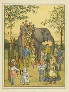 A Group of People in London Zoo Picture Beside an Elephant Giving Rides by Thomas Crane