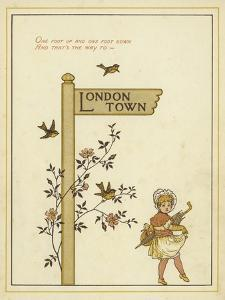 A Sign Post Points the Way to London Town with a Young Girl Walking in That Direction by Thomas Crane