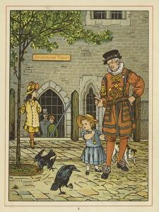 A Young Girl Stands Nervously Beside a Yeoman of the Guard by Thomas Crane