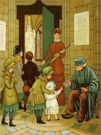 Beggar at church doors