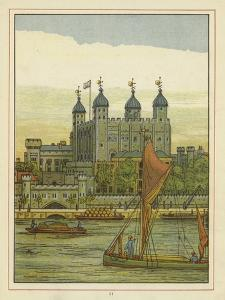 Boats on the River Thames with the Tower of London Beyond by Thomas Crane