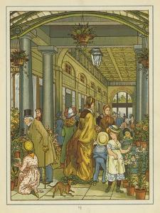 Interior View of People Among the Flowers on Sale in Covent Garden by Thomas Crane