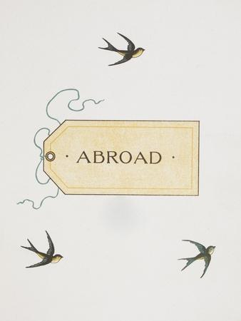Title To 'Abroad'. Colour Illustraion Showing Three Birds and a Luggage Label
