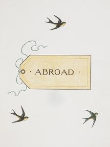 Title To 'Abroad'. Colour Illustraion Showing Three Birds and a Luggage Label by Thomas Crane