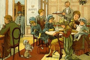 Victorian holidays - refreshments in the buffet by Thomas Crane